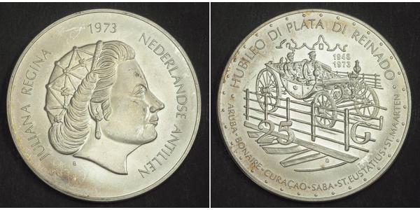 25 Gulden Netherlands Antilles (1954 – 2010) Silver Juliana of the Netherlands (1909 – 2004)