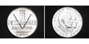 25 Krone Norvège (1905 - ) Argent Olav V de Norvège (1903 - 1991) / Haakon VII de Norvège (1872 - 1957)