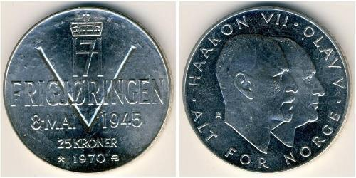 25 Krone Norvegia (1905 - ) Argento Olav V di Norvegia (1903 - 1991) / Haakon VII di Norvegia (1872 - 1957)