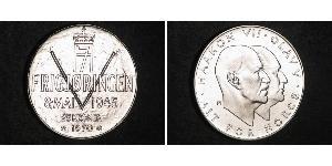 25 Krone Kingdom of Norway (1905 - ) Silver Haakon VII of Norway (1872 - 1957) / Olav V of Norway (1903 - 1991)