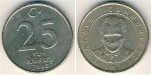 25 Kurush Turkey (1923 - ) Brass/Nickel