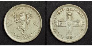 25 Ore 挪威 銀 哈康七世  (1872 - 1957)