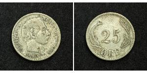 25 Ore Danemark Argent Christian IX de Danemark (1818-1906)