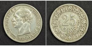 25 Ore Dinamarca Plata Federico VIII de Dinamarca (1843 - 1912)