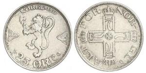 25 Ore Noruega Plata Haakon VII de Noruega (1872 - 1957)