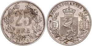 25 Ore Noruega Plata Óscar II de Suecia (1829-1907)