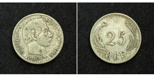25 Ore Denmark Silver Christian IX of Denmark (1818-1906)