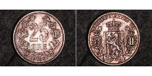 25 Ore Norway Silver Oscar II of Sweden (1829-1907)