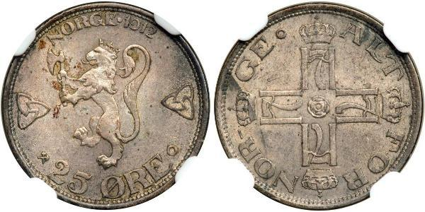 25 Ore Norway Silver Haakon VII of Norway (1872 - 1957)
