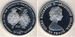 25 Penny Ascension Island Silver Elizabeth II (1926-)