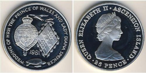 25 Penny Ascension Island Silver Elizabeth II (1926-)