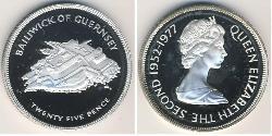 25 Penny Guernsey Silver Elizabeth II (1926-)