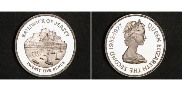25 Penny Jersey Silver Elizabeth II (1926-)