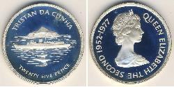 25 Penny Tristan da Cunha Silver Elizabeth II (1926-)