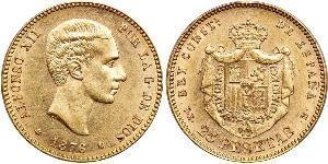 25 Peseta Kingdom of Spain (1874 - 1931) 金 Alfonso XII of Spain (1857 -1885)