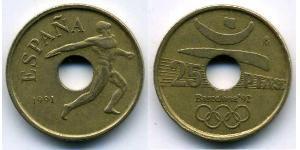 25 Peseta 西班牙 青铜/镍 胡安·卡洛斯一世 (1938 - )