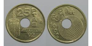 25 Peseta Kingdom of Spain (1976 - ) Bronze/Nickel Juan Carlos I of Spain (1938 - )
