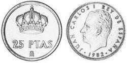 25 Peseta Kingdom of Spain (1976 - ) Copper/Nickel Juan Carlos I of Spain (1938 - )