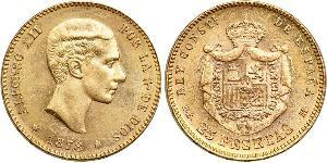 25 Peseta Kingdom of Spain (1874 - 1931) Gold Alfonso XII of Spain (1857 -1885)