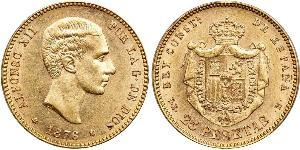 25 Peseta Kingdom of Spain (1874 - 1931) Or Alfonso XII of Spain (1857 -1885)