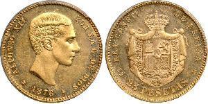 25 Peseta Kingdom of Spain (1874 - 1931) Oro Alfonso XII of Spain (1857 -1885)