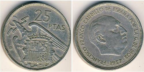 25 Peseta Francoist Spain (1936 - 1975) Rame/Nichel Francisco Franco(1892 – 1975)