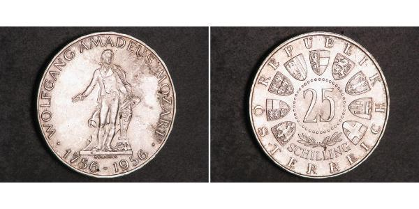 25 Shilling Republic of Austria (1955 - ) Argento Wolfgang Amadeus Mozart