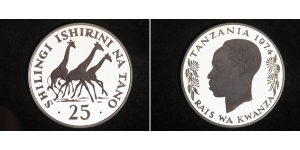 25 Shilling Tanzania Argento