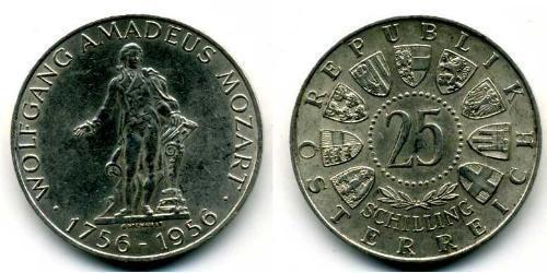 25 Shilling Republic of Austria (1955 - ) Plata Wolfgang Amadeus Mozart