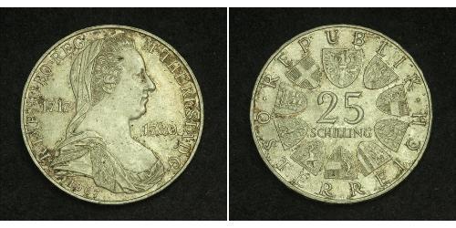25 Shilling Republic of Austria (1955 - ) Plata Maria Theresa of Austria (1717 - 1780)
