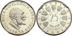 25 Shilling Republik Österreich (1955 - ) Silber