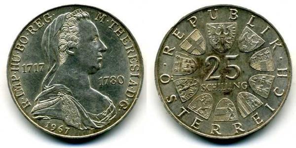 25 Shilling Republik Österreich (1955 - ) Silber Maria Theresa of Austria (1717 - 1780)