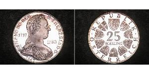 25 Shilling Republic of Austria (1955 - ) Silver Maria Theresa of Austria (1717 - 1780)