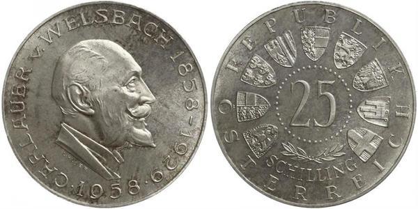 25 Shilling Republic of Austria (1955 - ) Silver Carl Auer von Welsbach