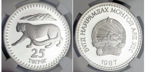 25 Tugrik Mongolia Argento