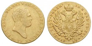 25 Zloty Kingdom of Poland (1815-1915) Gold Alexander I of Russia (1777-1825)