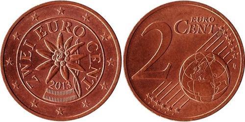 2 Євроцент Австрійська Республіка (1955 - ) Мідь