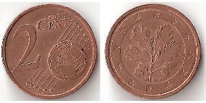 2 Євроцент Федеративна Республіка Німеччина (1990 - ) Мідь/Залізо