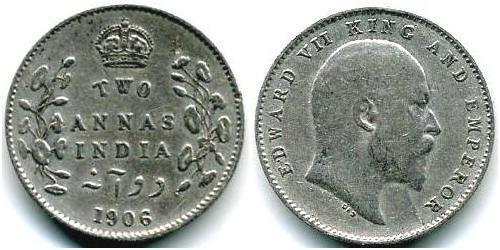 2 Анна Британская Индия (1858-1947) Серебро Эдуард VII (1841-1910)