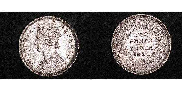 2 Анна Британская Индия (1858-1947) Серебро Виктория (1819 - 1901)