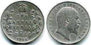 2 Анна Британська Індія (1858-1947) Срібло Едвард VII (1841-1910)