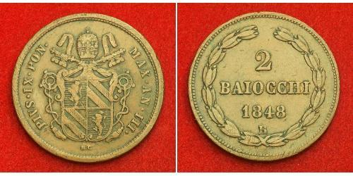 2 Байокко Папская область (752-1870) Медь Пий IX (1792- 1878)