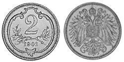 2 Гелер Австро-Угорщина (1867-1918) Бронза Франц Иосиф I (1830 - 1916)