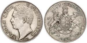 2 Гульден Королевство Вюртемберг (1806-1918) Серебро Вильгельм I (король Вюртемберга)