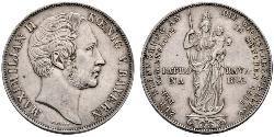 2 Гульден Королівство Баварія (1806 - 1918) Срібло Максиміліан II (король Баварії)(1811 - 1864)