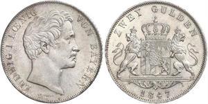 2 Гульден Королівство Баварія (1806 - 1918) Срібло Людвиг I (король Баварії)(1786 – 1868)