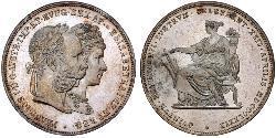 2 Гульден / 2 Флорин Королевство Венгрия (1000-1918) / Австрийская империя (1804-1867) Серебро Франц Иосиф I (1830 - 1916)