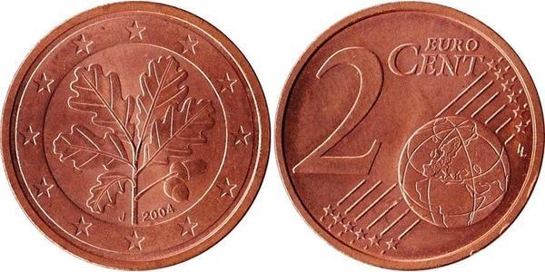 2 Евроцент Федеративная Республика Германия (1990 - ) Сталь/Медь