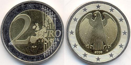 2 Евро Федеративная Республика Германия (1990 - ) Никель/Медь