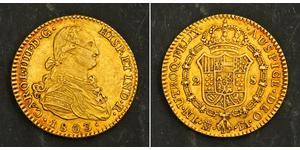 2 Ескудо Іспанська Імперія (1700 - 1808) Золото Карл IV король Іспанії  (1748-1819)
